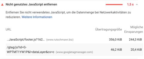 Nicht genutztes JavaScript entfernen. Einfacher gesagt als getan
