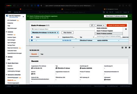 Amazon AWS Elastic IP bereit zur Zuordnung einer EC2 Instanz