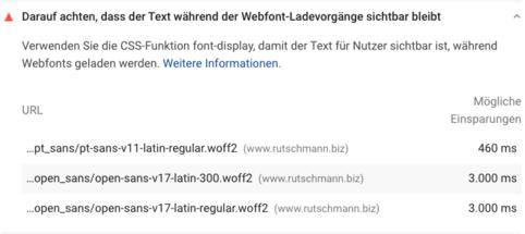 Darauf achten, dass der Text während der Webfont-Ladevorgänge sichtbar bleibt